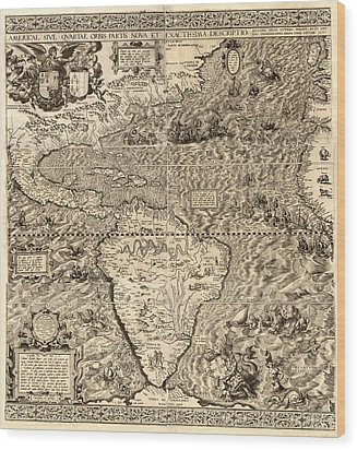 Antique America Map Wood Print by Gary Grayson