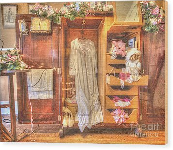 Antique Armoire Wood Print by Liane Wright
