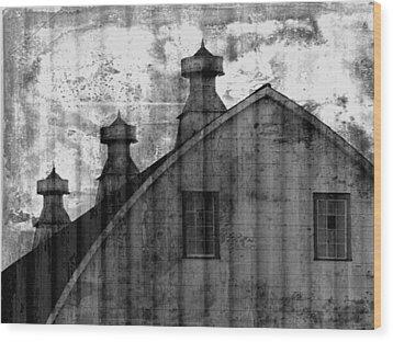 Antique Barn - Black And White Wood Print by Joseph Skompski