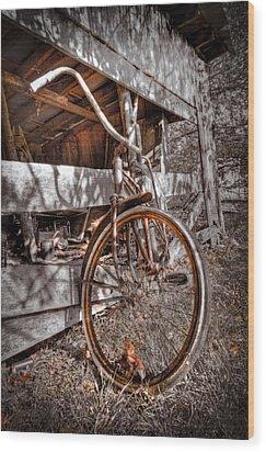 Antique Bicycle Wood Print by Debra and Dave Vanderlaan