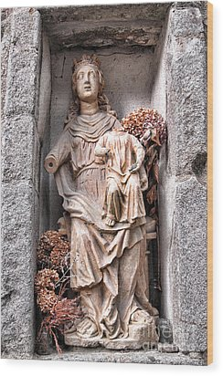 Antique Blessed Virgin Statue Wood Print by Olivier Le Queinec