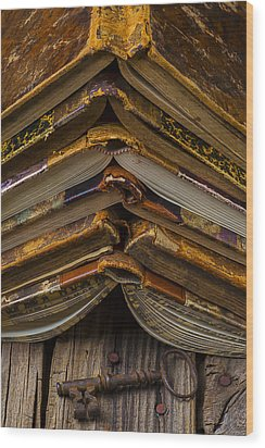 Antique Books Wood Print by Garry Gay