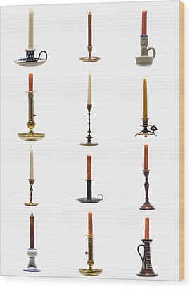 Antique Candleholders Wood Print by Olivier Le Queinec