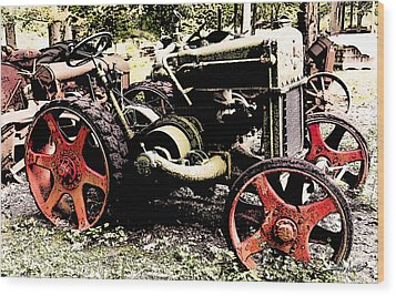 Antique Case Tractor Red Wheels Wood Print by Michael Spano