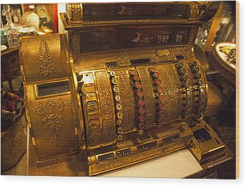 Wood Print featuring the photograph Antique Cash Register by Jerry Cowart