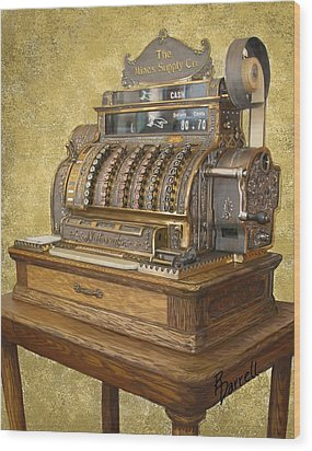 Antique Cash Register Wood Print