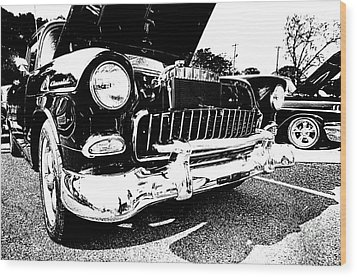 Antique Chevy Car At Car Show Wood Print