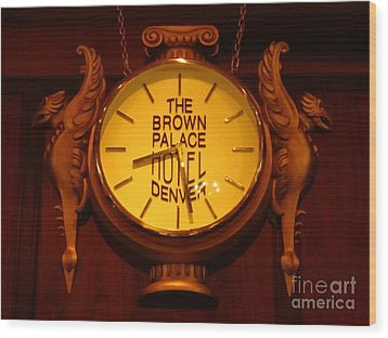 Antique Clock At The Bown Palace Hotel Wood Print by John Malone