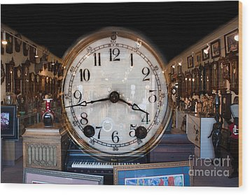 Wood Print featuring the photograph Antique Clock Store by Gunter Nezhoda