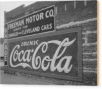 Antique Cola Sign Wood Print by Ann Powell