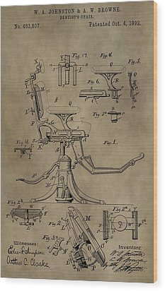 Antique Dental Chair Patent Wood Print by Dan Sproul