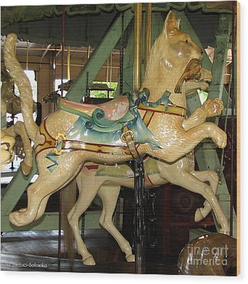 Antique Dentzel Menagerie Carousel Cat Wood Print by Rose Santuci-Sofranko