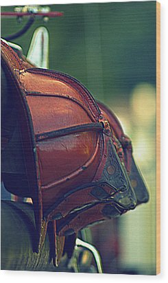 Antique Fireman Helmets Wood Print