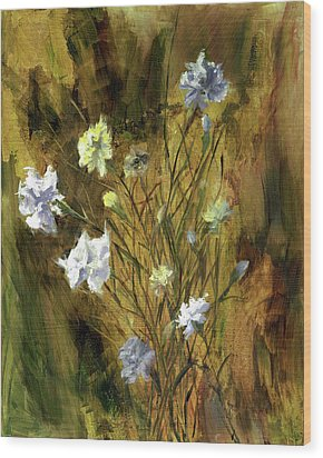 Wood Print featuring the painting Antique Flowers by Vic  Mastis