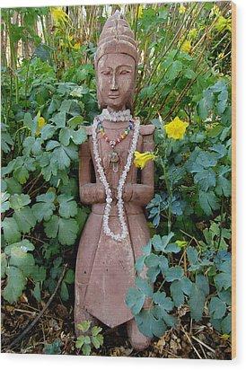 Antique Garden Goddess Wood Print by Eileen Lighthawk