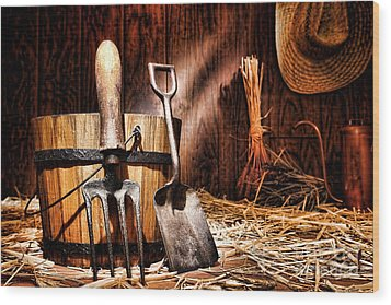 Antique Gardening Tools Wood Print by Olivier Le Queinec