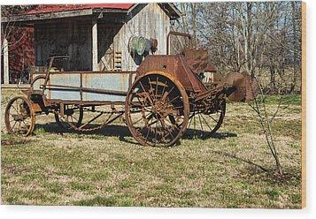 Antique Hay Bailer 1 Wood Print by Douglas Barnett
