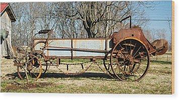 Antique Hay Bailer 2 Wood Print by Douglas Barnett