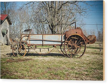 Antique Hay Bailer 3 Wood Print by Douglas Barnett