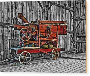 Antique Hay Baler Selective Color Wood Print by Steve Harrington