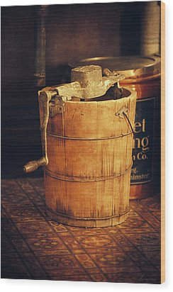 Antique Ice Cream Maker Wood Print by Maria Angelica Maira
