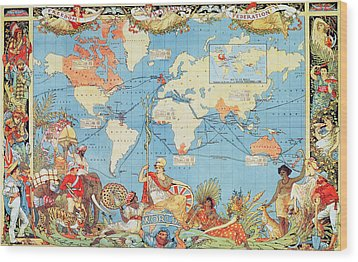 Antique Illustrated Map Of The World Wood Print by Anonymous
