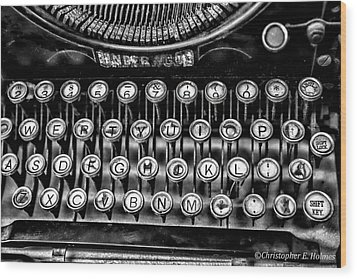 Antique Keyboard - Bw Wood Print by Christopher Holmes