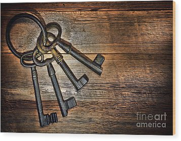 Antique Keys Wood Print by Olivier Le Queinec