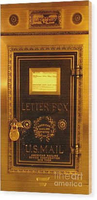 Antique Letter Box At The Brown Palace Hotel Wood Print by John Malone