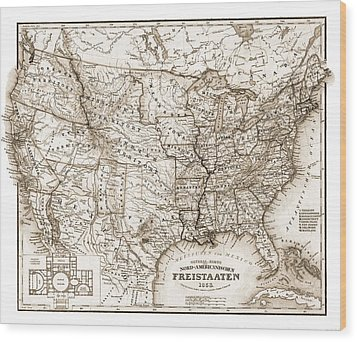 Antique Map 1853 United States Of America Wood Print by Dan Sproul