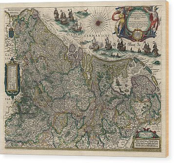 Wood Print featuring the drawing Antique Map Of Belgium And The Netherlands By Willem Janszoon Blaeu - 1647 by Blue Monocle