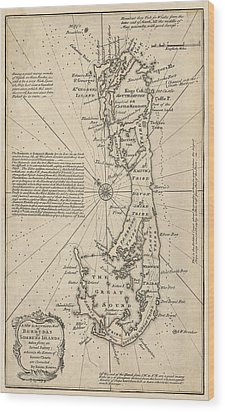 Wood Print featuring the drawing Antique Map Of Bermuda By Emanuel Bowen - 1750 by Blue Monocle