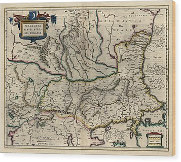 Wood Print featuring the drawing Antique Map Of Bulgaria Romania And Serbia By Willem Janszoon Blaeu - 1647 by Blue Monocle