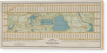 Antique Map Of Central Park New York City By Oscar Hinrichs - 1875 Wood Print