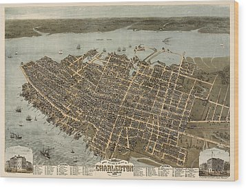 Antique Map Of Charleston South Carolina By C. N. Drie - 1872 Wood Print