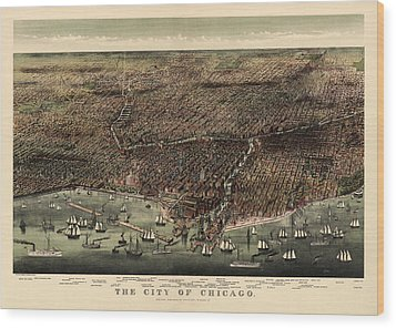 Antique Map Of Chicago By Currier And Ives - 1892 Wood Print