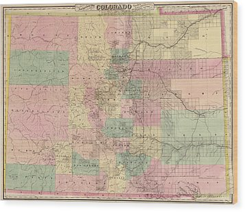 Wood Print featuring the drawing Antique Map Of Colorado By G.w. And C.b. Colton And Co. - 1878 by Blue Monocle