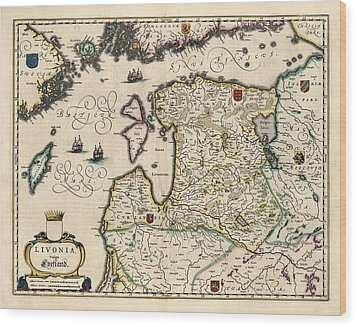 Wood Print featuring the drawing Antique Map Of Estonia Latvia And Lithuania By Willem Janszoon Blaeu - 1647 by Blue Monocle