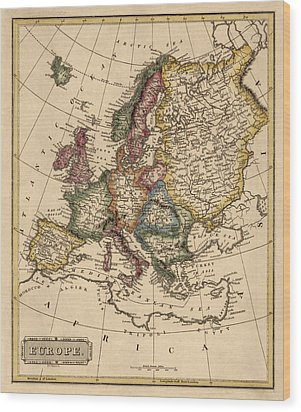 Antique Map Of Europe By Fielding Lucas - Circa 1817 Wood Print by Blue Monocle