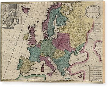 Antique Map Of Europe By John Senex - Circa 1719 Wood Print by Blue Monocle