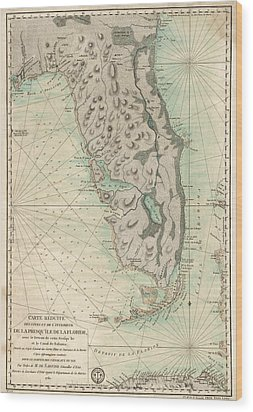 Wood Print featuring the drawing Antique Map Of Florida - 1780 by Blue Monocle