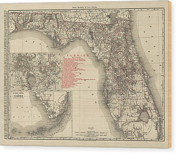 Antique Map Of Florida By Rand Mcnally And Company - 1900 Wood Print