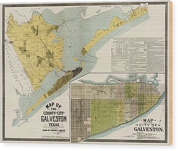 Antique Map Of Galveston Texas By The Island City Abstract And Loan Co. - 1891 Wood Print