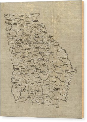 Wood Print featuring the drawing Antique Map Of Georgia - 1893 by Blue Monocle