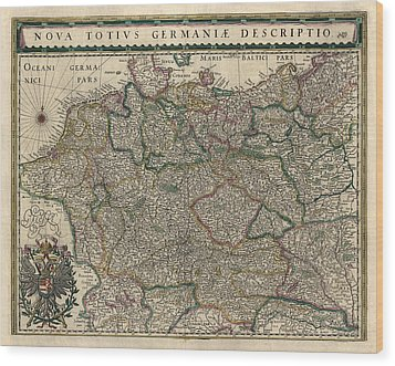 Wood Print featuring the drawing Antique Map Of Germany By Willem Janszoon Blaeu - 1647 by Blue Monocle