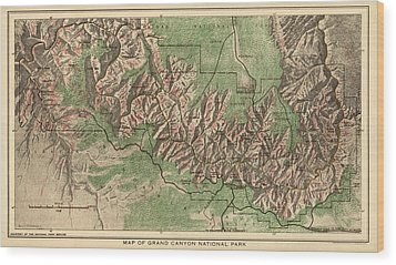 Antique Map Of Grand Canyon National Park By The National Park Service - 1926 Wood Print by Blue Monocle