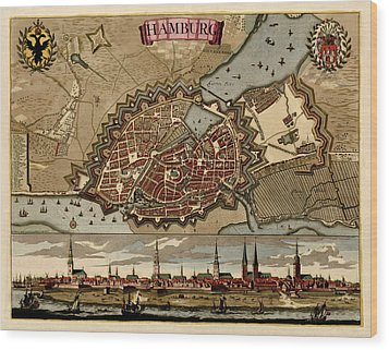 Antique Map Of Hamburg Germany By Pieter Schenk - Circa 1702 Wood Print by Blue Monocle