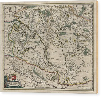 Wood Print featuring the drawing Antique Map Of Hungary By Willem Janszoon Blaeu - 1647 by Blue Monocle