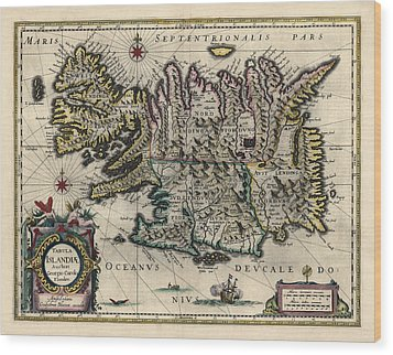 Wood Print featuring the drawing Antique Map Of Iceland By Willem Janszoon Blaeu - 1647 by Blue Monocle