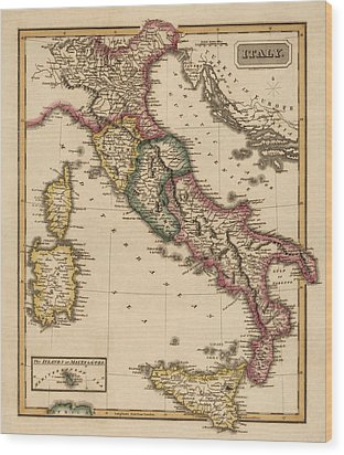 Antique Map Of Italy By Fielding Lucas - Circa 1817 Wood Print
